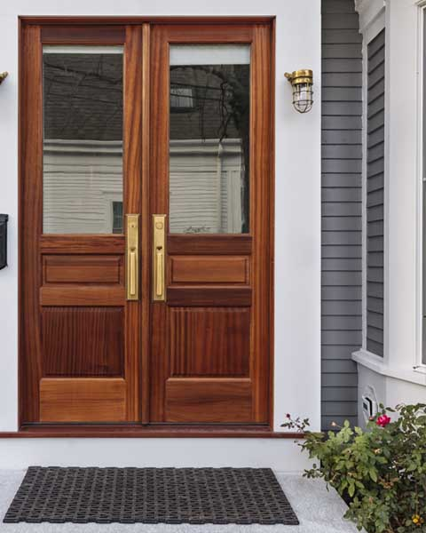 Dark stained exterior door